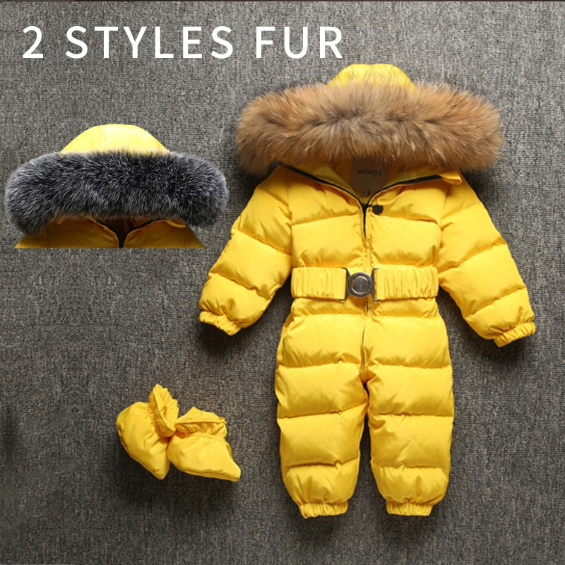 Winter Warm Baby Girls Rompers Down Fur Hooded Boys Jumpsuits Outdoor Children Overalls Onesie Toddler Snow Clothes -10 degrees