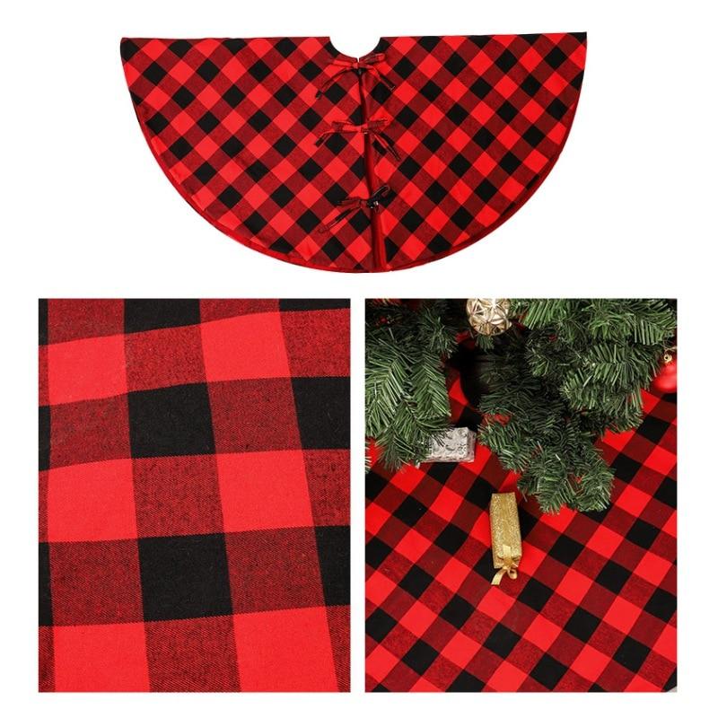 47.2-Inch Large Sized Christmas Tree Skirt Red And Black Lattice Design Xmas Tree Apron Holiday Decorations