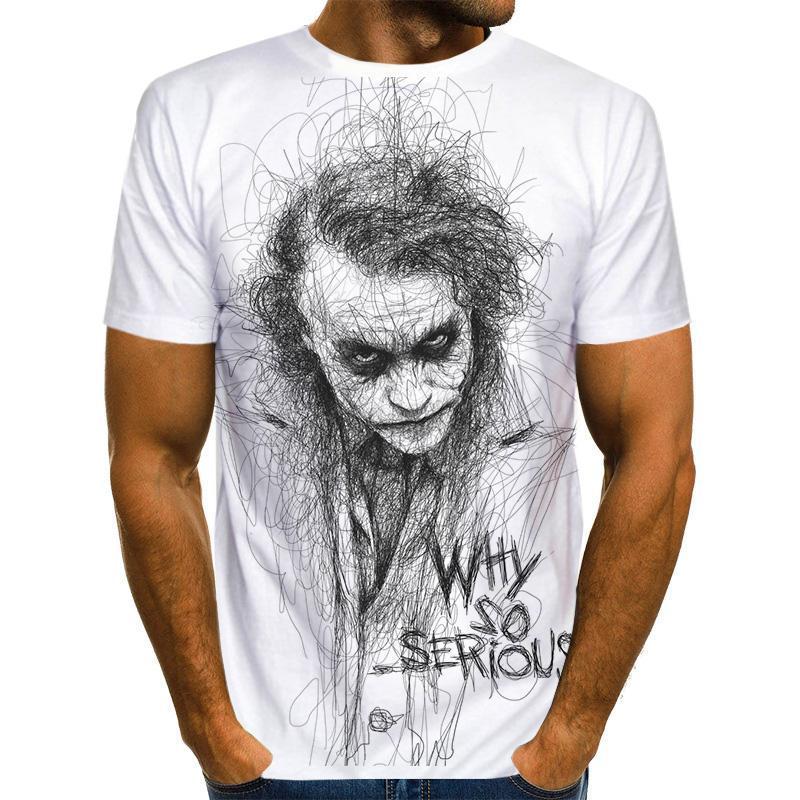 Camiseta 3D de payaso blanco para hombre Joker cara de camiseta estampada...