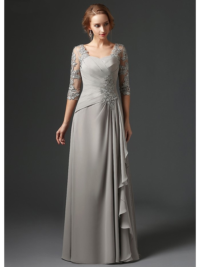 Silver 2019 Mother Of The Bride Dresses A-line 3/4 Sleeves Chiffon Lace Plus Size Long Elegant Groom