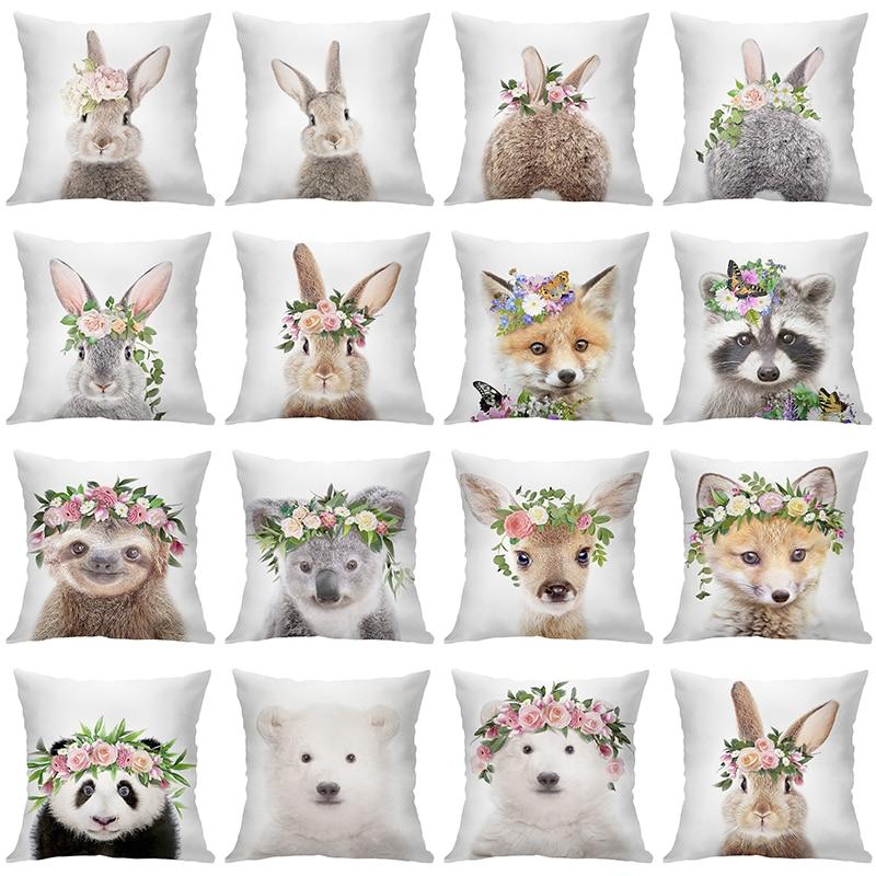 Милый бархатный декоративный чехол для подушки 45 х45, наволочки для домашних диванных подушек с цветами, чехол для подушки, кролик, диван, чех...