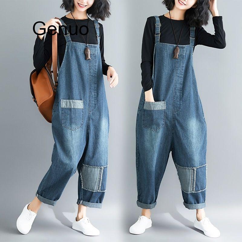 Женский джинсовый комбинезон, комбинезон из джинсовой ткани с нашивками, комбинезон на подтяжках, джинсовый комбинезон, женский комбинезон...