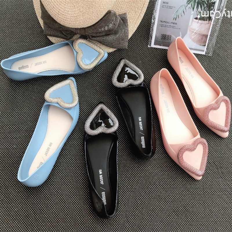 Melissa 2020, nuevos zapatos para mujer, moda coreana, sandalias de gelatina con punta, corazón plano, zapatos de trabajo de tendencia para mujer SHW058