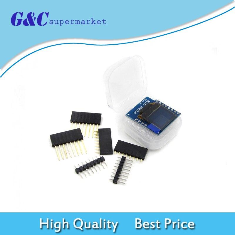 Mini 0,66 pulgadas 64X48 OLED escudo para WeMos D1 CII/I2C SSD1306 IC Drive módulo Oled 3,3 V con pines para Arduino diy electrónica