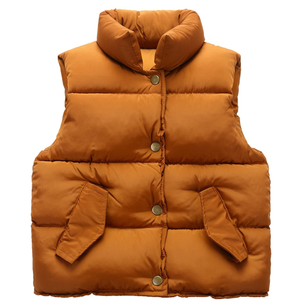 Kids Sleeveless Jacket Warm Down Vest Winter Solid Waistcoat Cotton Coat Boys Casual Thicken Outerwear Girls Single-Breasted Top