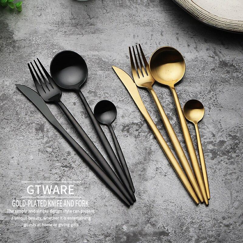 Conjunto de louça dourada de luxo, faqueiro dourado, faca ocidental, garfos, colher, conjunto de aparelho de jantar, aço inoxidável, utensílios de mesa di50dc