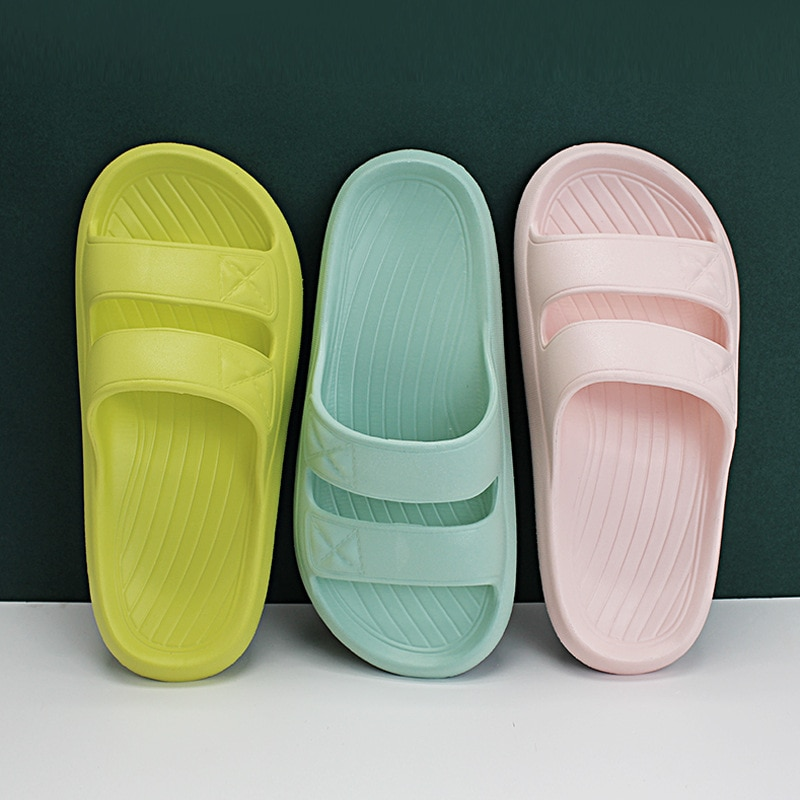 Slippers For Ladies Thick-soled Home Bathroom Shoes Couple Women Men House Hook Loop  2021 Non-slip