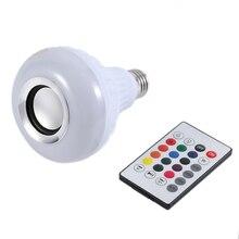Sans fil Bluetooth télécommande Mini haut-parleur Audio intelligent LED ampoule de musique éclairage coloré fête décorations de mariage E27