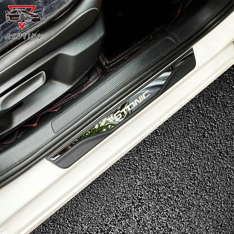 Accesorios adhesivos para coches para Kia Stonic, tira de umbral de puerta, cubiertas de placas, protectores de acero inoxidable, estilismo para coche 2017 2019 2020