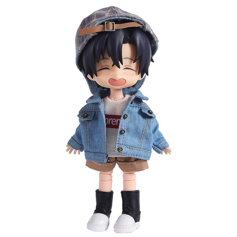 112 Scale Doll Clothes Fashion Denim Jacket Sweatshirt for OB11, Obitsu 11, Molly, 1/12 BJD Doll Accessories Gift for Girls