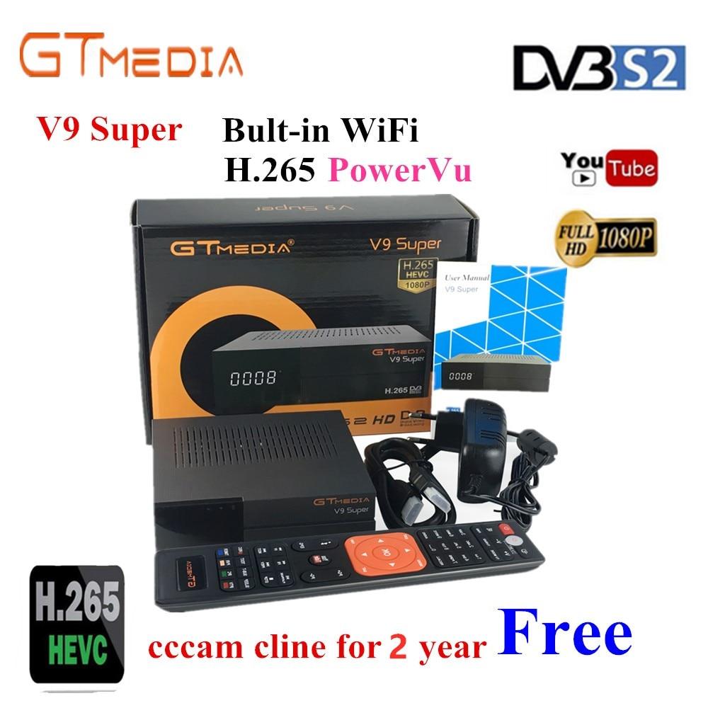 Receptor satelital V9 Super DVB-S2 H.265 CCcam Europa incorporado en WIFI digital Television Set top box Same GTmedia V8 Nova