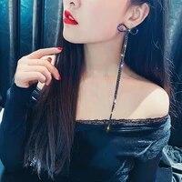 ustar hyperbole bowknot long tassel drop earrings for women black chain dangle earrings new fashion party wedding jewelry gifts