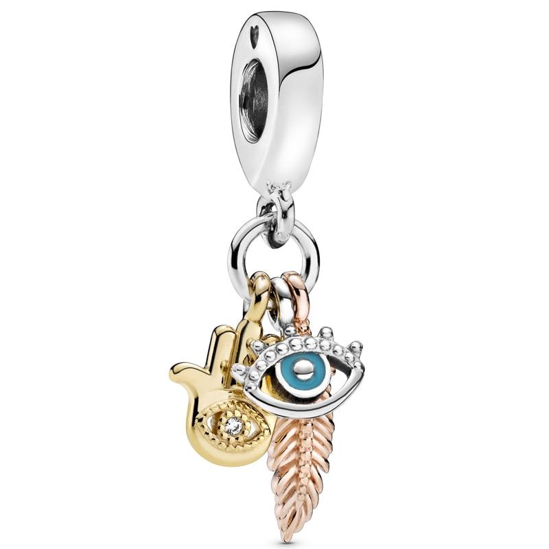 ¡Novedad de 925! Abalorio de plata de ley Hamsa, colgante de ojos y plumas que se adapta a la pulsera, joyería Diy