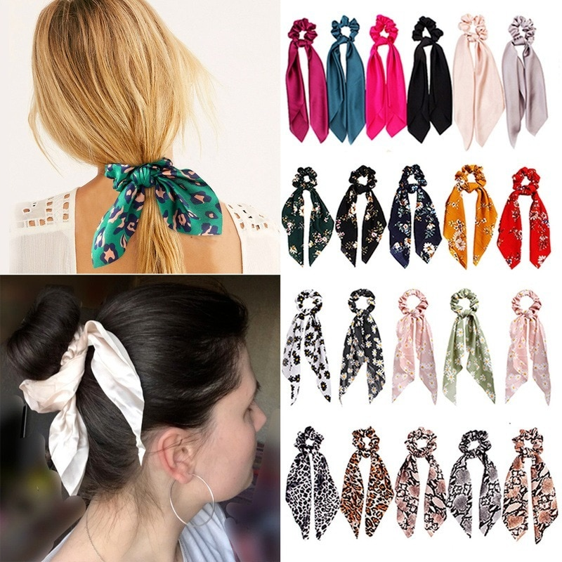 Fashion Printing Hair Accessories Long Scarf Ribbons Scrunchie for Women Elegant Bow Tie Ponytail Holder Girl Elastic Hair Bands