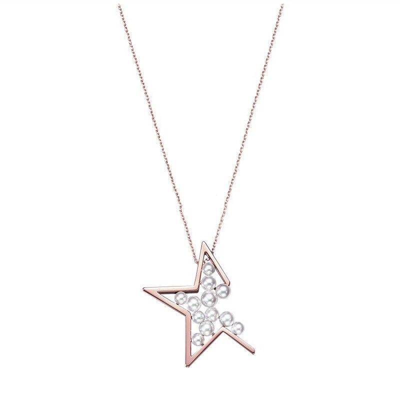 Collar de estrella con perlas LONDANY, collar con colgante de color oro rosa en ángulo perdido con pentagrama