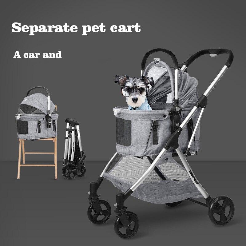 Transportador de cochecito de Mascota para perros y asiento de coche plegable y ligero para transporte separables accesorios