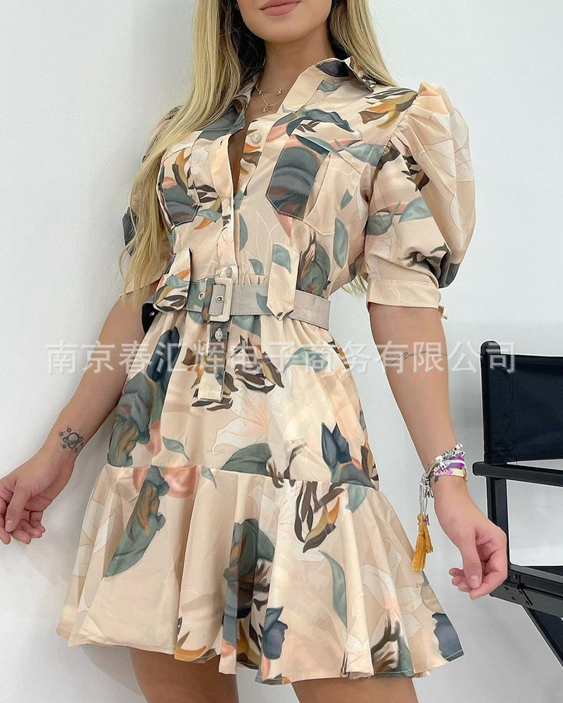 Floral short sleeve lapel dress summer dress women  harajuku dress  korean dress  vintage dress фото
