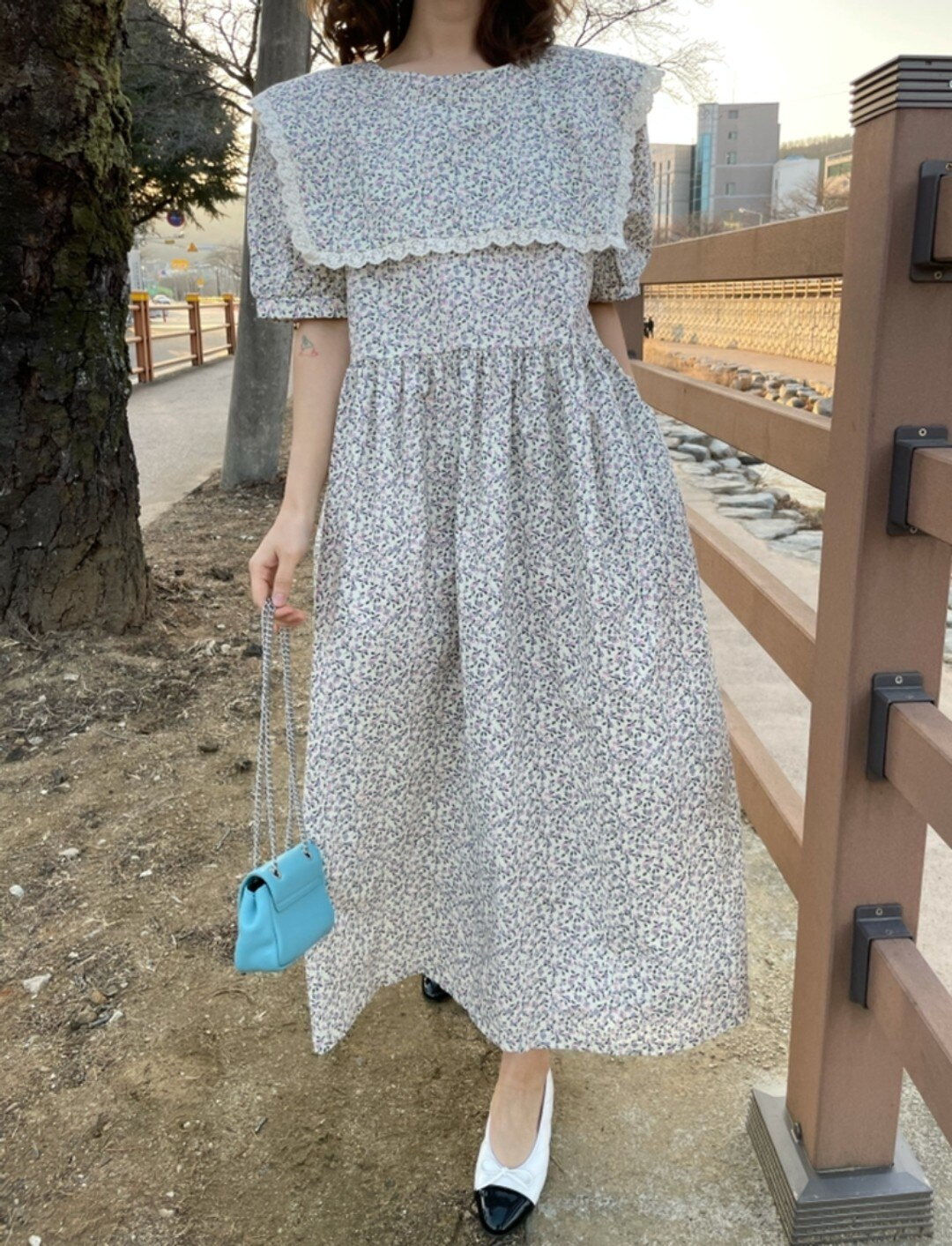 Korean Ins French Style Retro Sweet Western Style Youthful-Looking Lace Doll Collar Loose Puff Short Sleeve Flower Dress