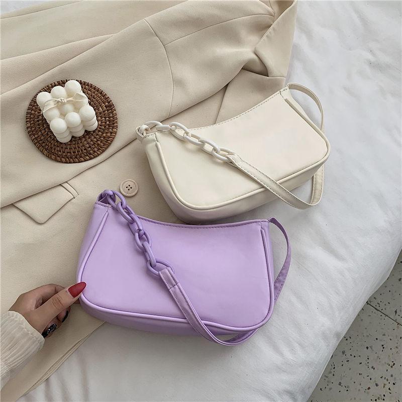 Simple Women Baguette Shoulder Bags Fashion PU Leather Ladies Small Purse Handbags Solid Color Acrylic Chain Female Armpit Bag