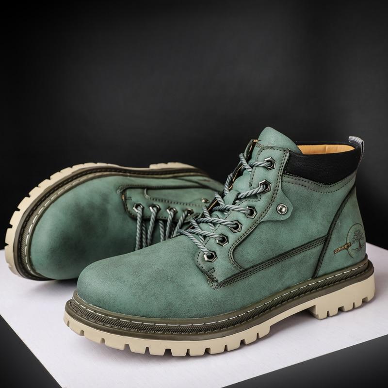 جديد موضة الأخضر الرجال مارتن الأحذية نوعية جيدة الشتاء الأحذية الجلدية للذكور مكافحة ارتداء عدم الانزلاق الرجال أحذية عمل بوتاس hombre