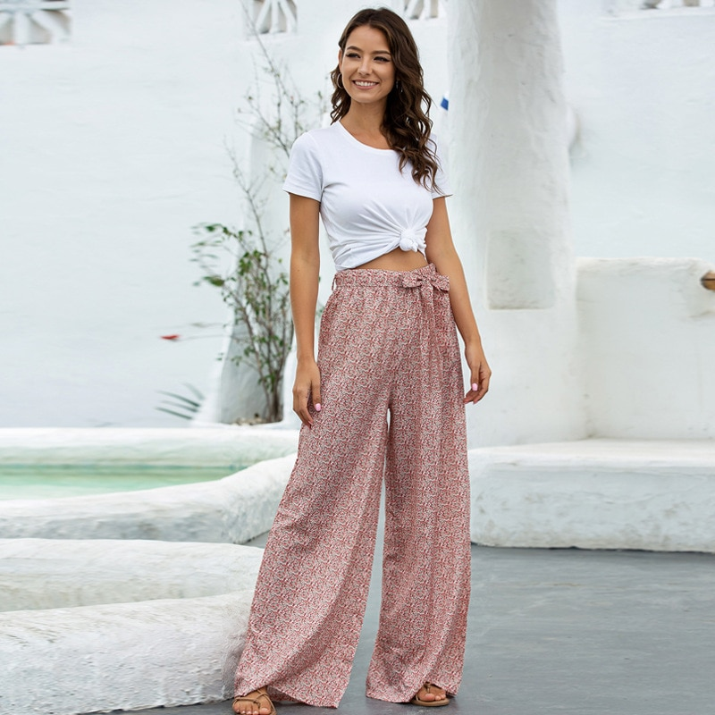 2021 Women's Clothing Summer New Products Loose Printed Wide-Leg Pants Belt Trousers Exotic Style Casual