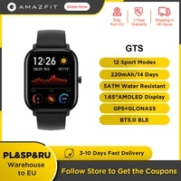original global version amazfit gts smart watch 5atm waterproof 14 days battery fashion gps smartwatch for men for android