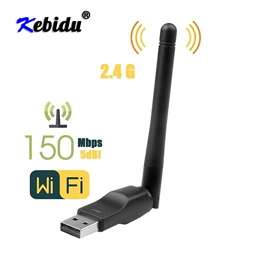 Kebidu WiFi Wireless Network Card USB 2.0 150M 802.11 b/g/n LAN Adapter with rotatable Antenna for Laptop PC Mini Wi-fi Dongle