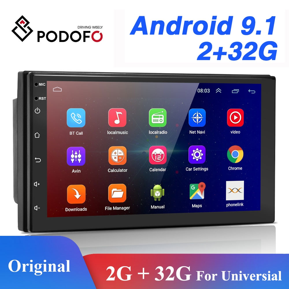 Автомагнитола Podofo, 2 Din, Android, GPS, Bluetooth, Wi-Fi, USB, FM