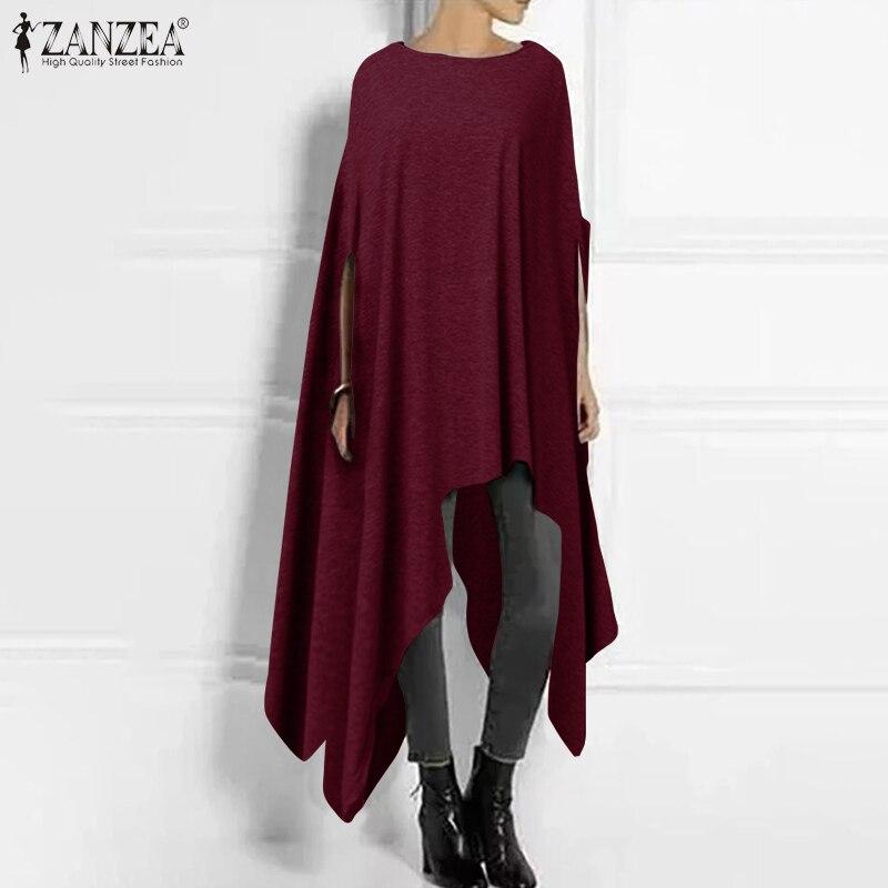 2020 ZANZEA femmes demi manches asymétrique pull décontracté Poncho Blouse mode femme O cou pulls grande taille Outwear Cape