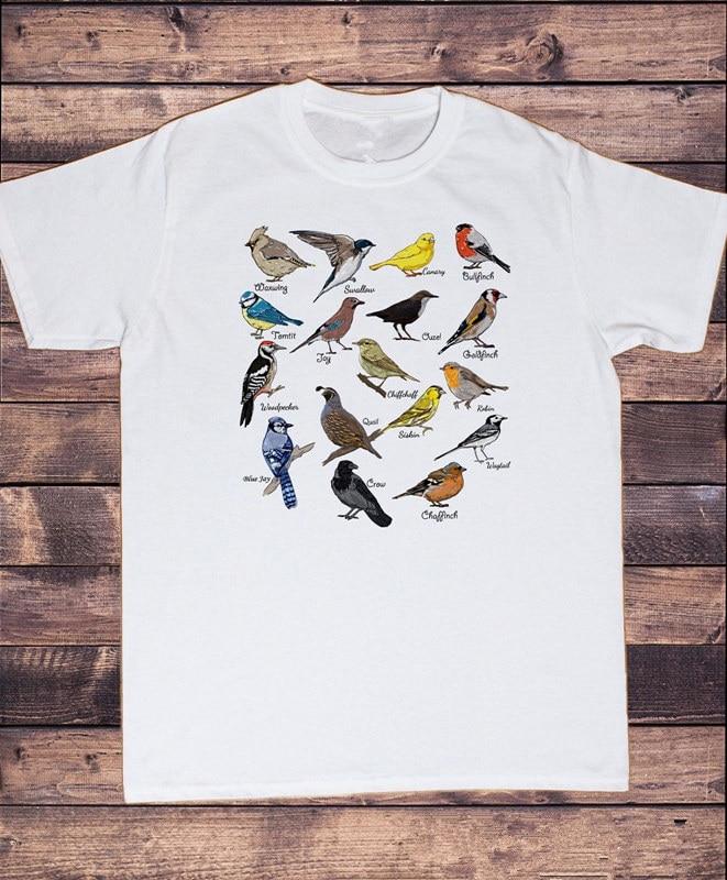 Camisetas gráficas baratas para hombre, máquina de impresión de manga corta, cuello redondo Bianca Da Uomo Indie Britannica, camisetas para ver aves