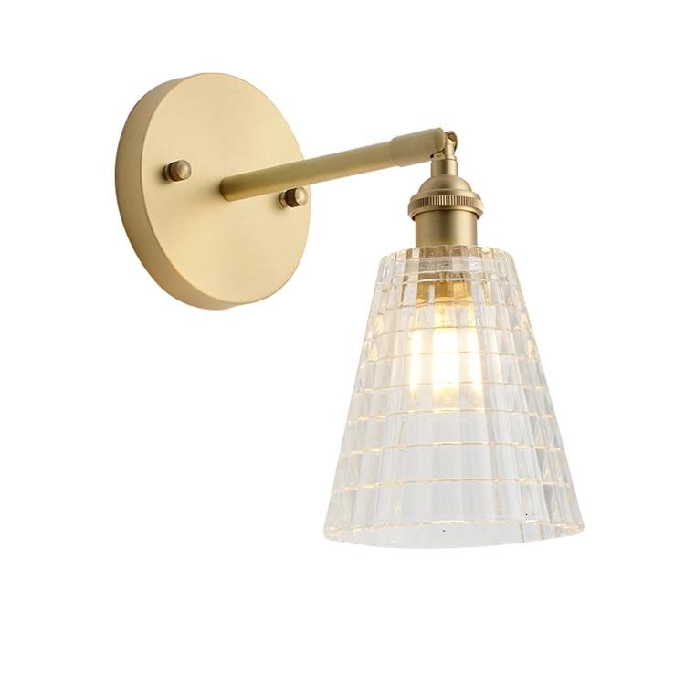 Lámpara de Pared de cobre y cristal transparente para el hogar, lámpara...