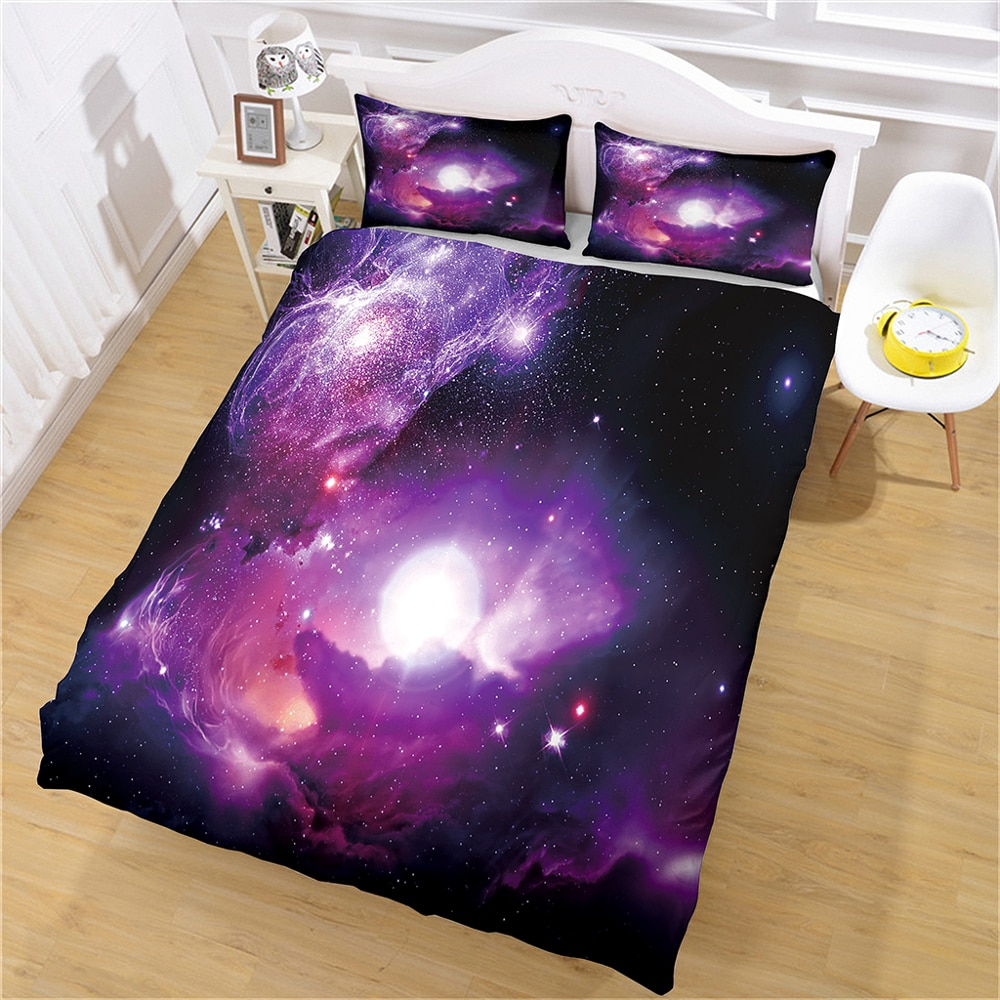 Home Textile Universe Galaxy Printing Bedding Set Pillowcase King Bed Double Full Size Bedroom Comfortable Set Customization