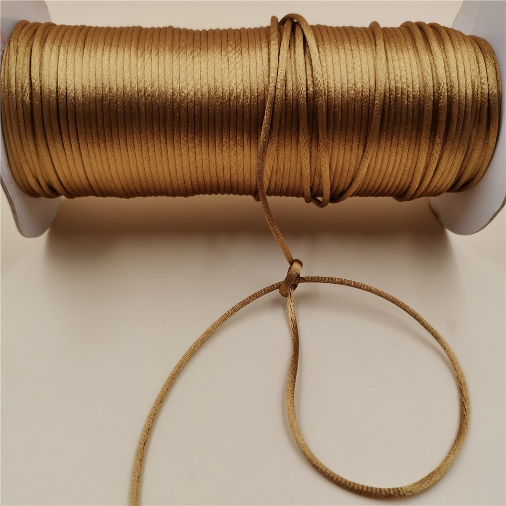 2017 0 8mm 100m spool macrame rope satin rattail nylon cords string kumihimo chinese knot cord diy bracelet jewelry findings 2mm X 20meters Old Gold Color Rattail Satin Cord Chinese Knot Braided String Jewelry Findings Beading Rope R563