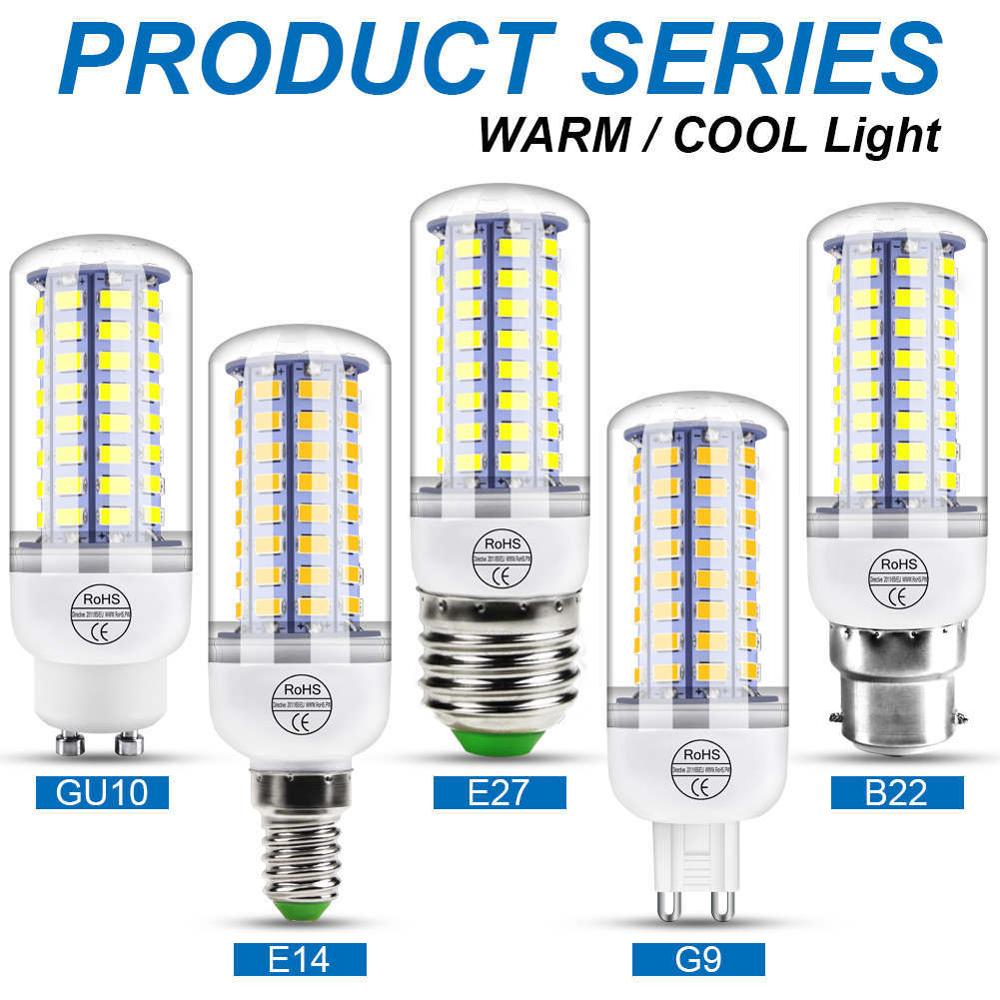 Светодиодная лампа E27 220 В лампа E14 кукурузный светильник G9 Bombillas Led 3 Вт 5 Вт 7 Вт 9 Вт 12 Вт 15 Вт GU10 Светодиодная лампа B22 люстра Свеча светильник 5730 SMD