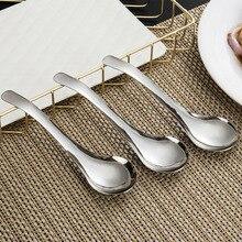 Cuillère à soupe de Table en acier inoxydable   Ustensile de Table à Long manche, cuillère de service de cuisine de Restaurant 16.7*4.8*0.1cm