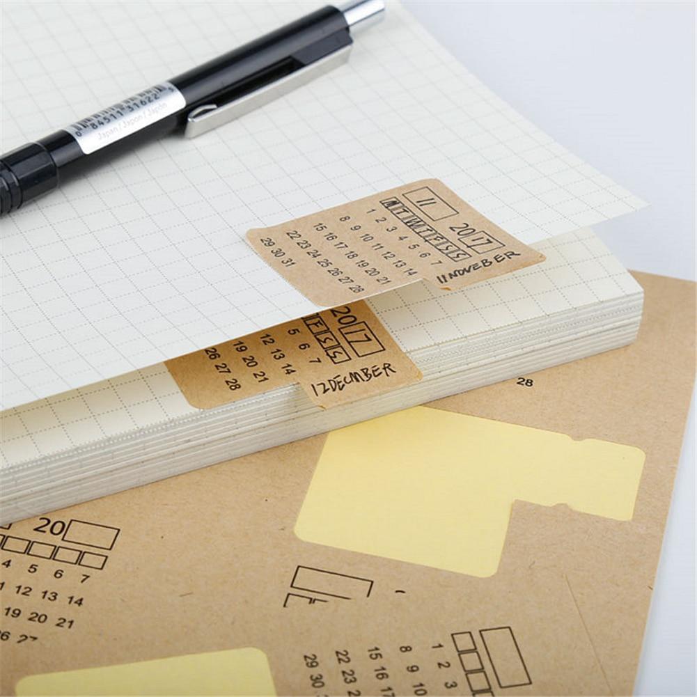 20 hojas 2020 de 2019 Kraft de papel a mano cuaderno calendario índice etiqueta calendario con pegatinas organizador de pegatinas papelería