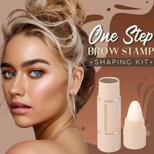 One Step Eyebrow Stamp Shaping Kit Waterproof Eyebrow Stencils Makeup Set Hairline Repair Women Eye