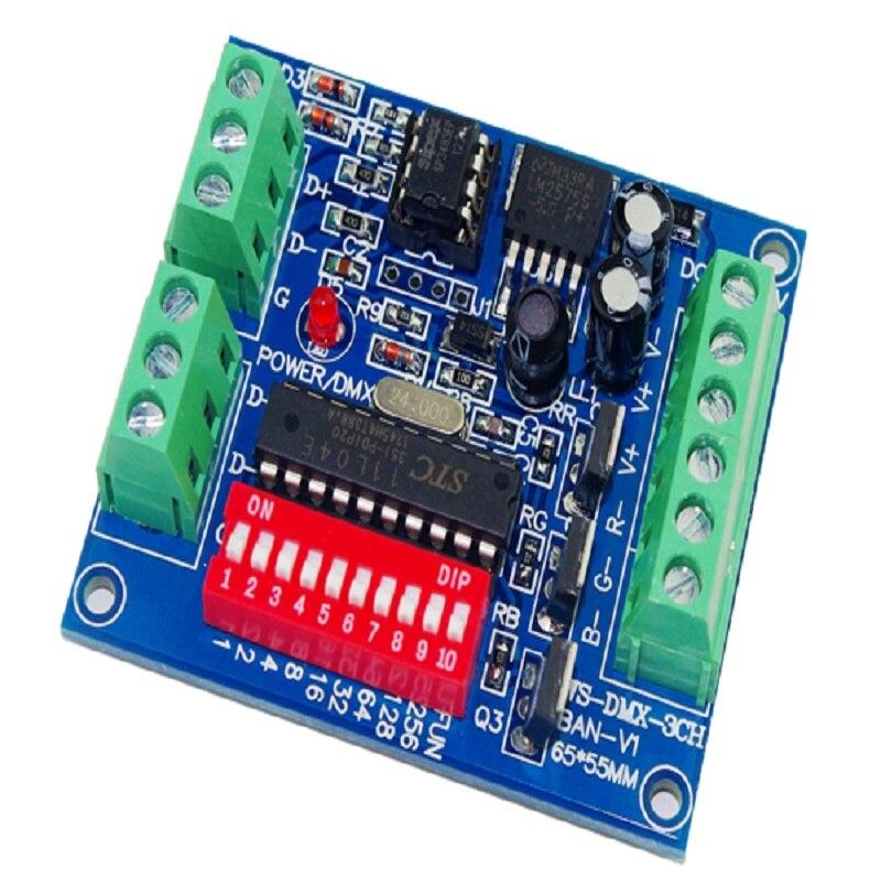 Envío rápido al por mayor 1 Uds 3 canales DMX-3CH-BAN-V1 DMX 512 controlador decodificador LED uso para tira de luces led DC5V -24V