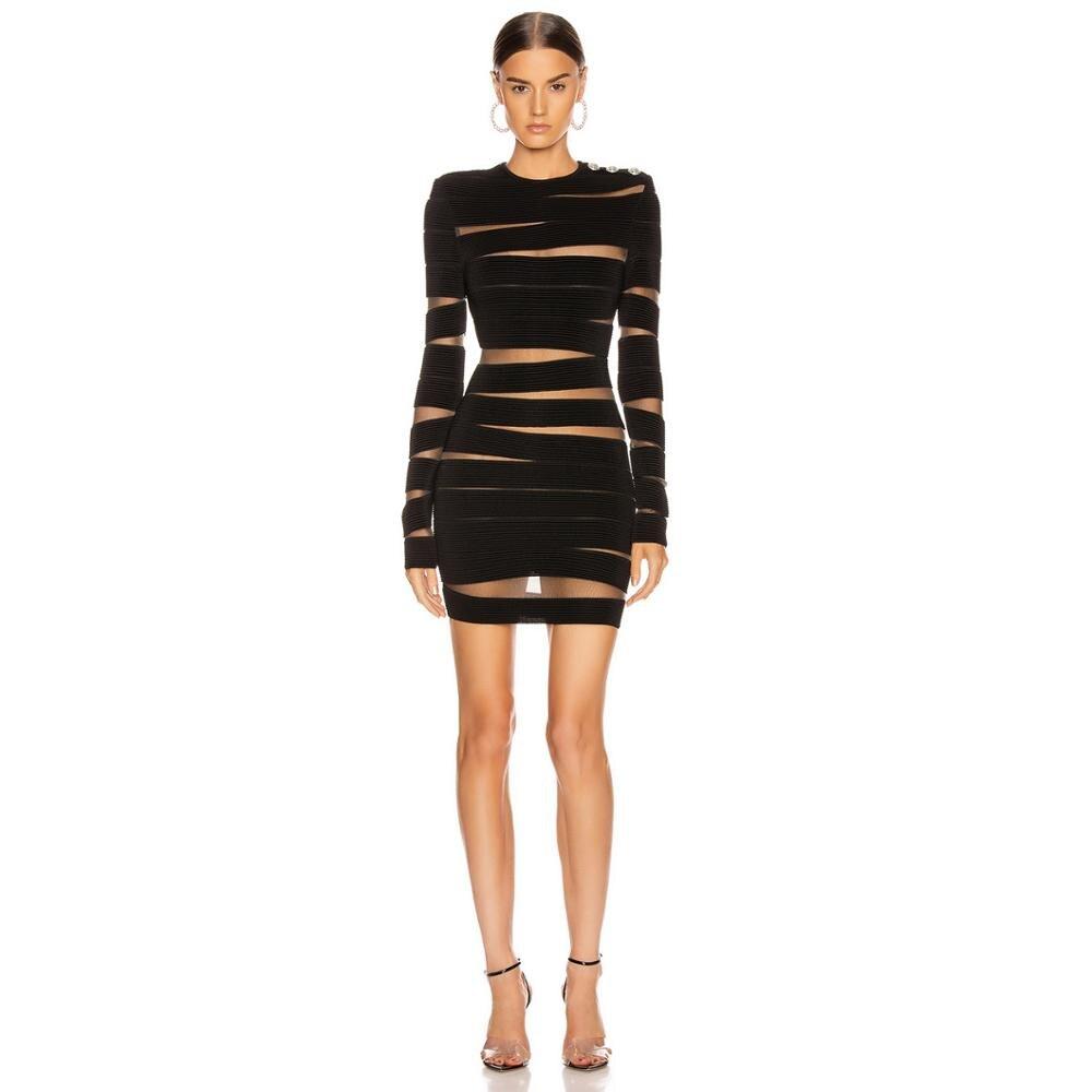 Deiveteger-فستان شبكي مخطط ، مثير ، أكمام طويلة ، ضيق ، قلم رصاص ، فستان النادي ، حفلة ، شتاء ، أسود ، 8223