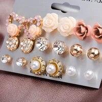 9 pairs earrings set flower crystal ear studs earrings for women fashion elegant pearl earring wedding party jewelry ornaments