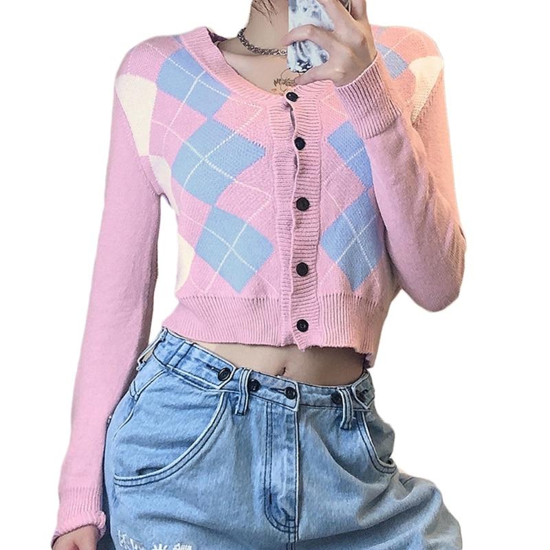 Women Long Sleeve Knit Button V-Neck Cardigan Argyle Plaid Pattern Sweater Coat enlarge