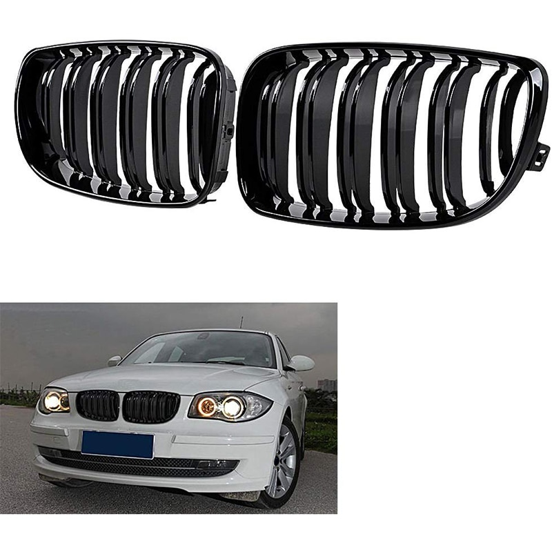 Глянцевая черная двойная планка Передняя почечная решетка гриль замена для BMW E81 E82 E88 120I 128I 130I 135I выбран 2007-2011