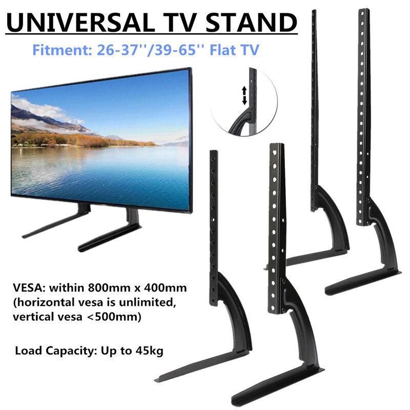 KINKO-حامل تلفزيون عالمي قابل لضبط الارتفاع ، قاعدة سطح الطاولة ، حامل تلفزيون LCD ، شاشة بلازما مسطحة ، 32-75 بوصة ، فولاذ