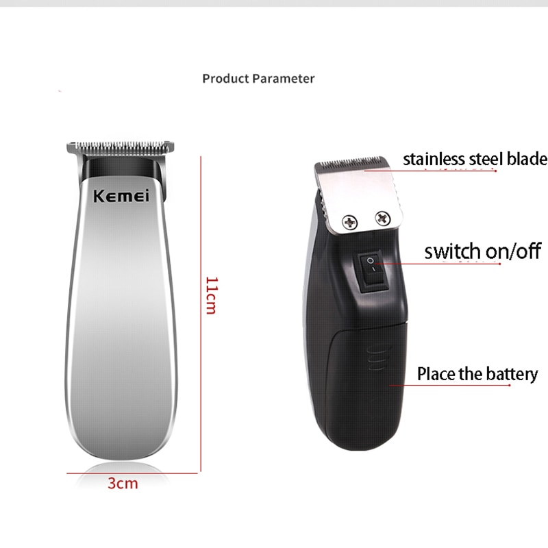 Kemei Portable Pocket Hair Trimmer Shaven-headed Electric Mini Compact Hair Clipper 0mm Carving T-blade Finish Machine KM-666B enlarge