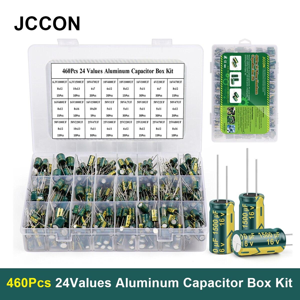 460 قطعة/صندوق مكثف عدة JCCON 1 فائق التوهج-1500 فائق التوهج 24 قيم الألومنيوم مكثفات كهربائية 6.3 فولت-50 فولت المكثفات متنوعة صندوق عدة منخفضة ESR
