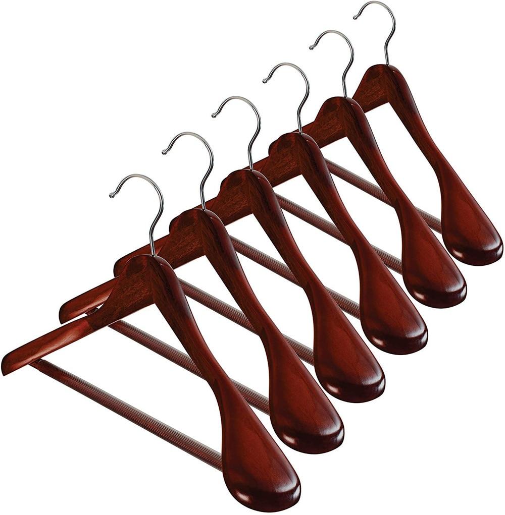 10 pçs roupas de madeira cabides de ombro largo casaco terno não deslizamento calças tubo exibição rack cabides casaco de madeira