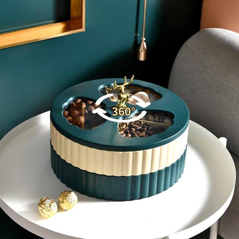 صندوق تخزين طاولة مزدوج الطبقة ، صندوق حلوى الفاكهة ، صينية طعام مستديرة للوجبات الخفيفة ، لغرفة المعيشة والمطبخ SP99