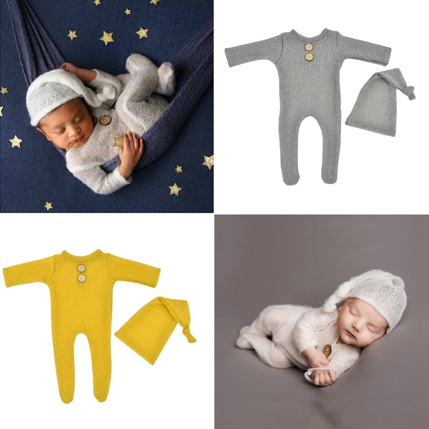 От 0 до 1 месяца новорожденных Подставки для фотографий для маленьких мальчиков и девочек вязаный шерстяной комбинезон боди наряд 2 шт./компл...