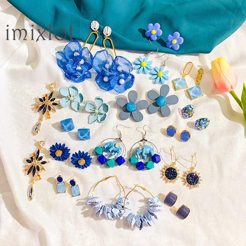 New Gray Blue Acetate Geometric Human Face Crystal Rhinestone Flower Long Drop Earrings Set for Women Party Jewelry
