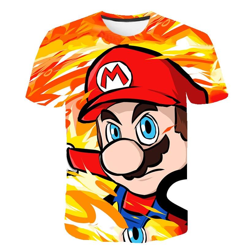Karikatür Mario ile Luigi çocuk komik tişört bebek erkek kız yaz Casual Tops T gömlek çocuk giysileri
